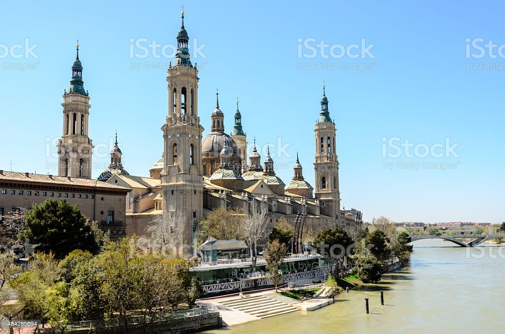 Our Lady of the Pillar in Zaragoza, Aragon stock photo