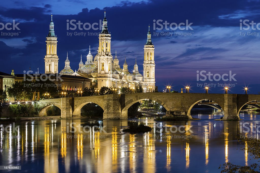 Our Lady of the Pillar, Zaragoza, Aragon stock photo