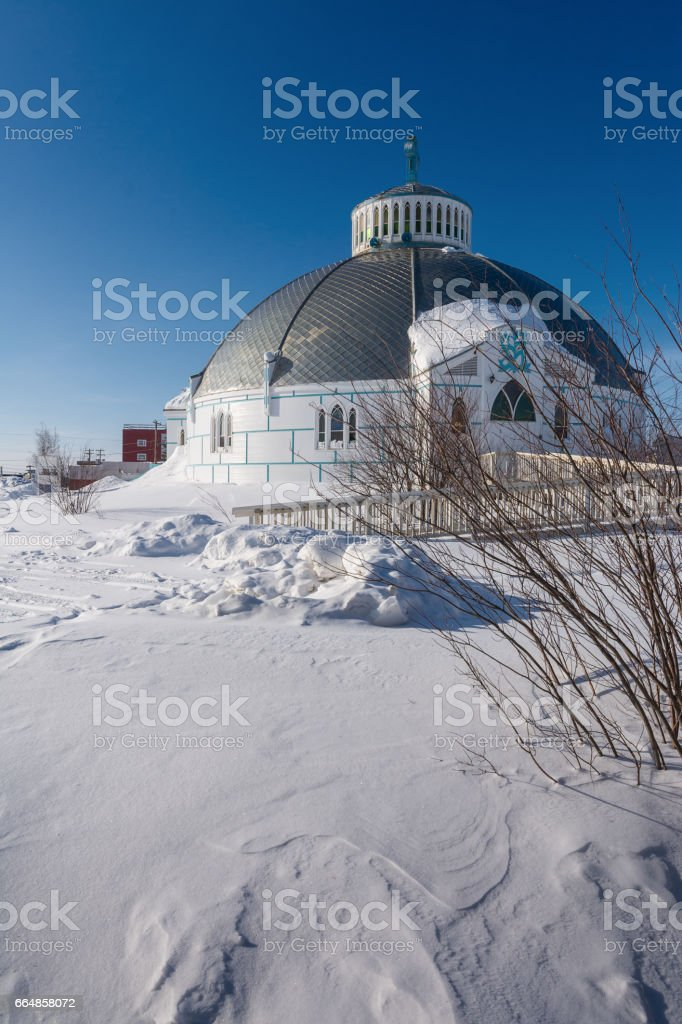 Our Lady of Victory Church in Inuvik stock photo