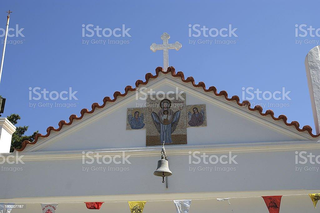우리의 성녀 Tsambika 수도원. 로즈입니다. 그리스. royalty-free 스톡 사진