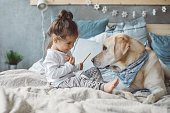 Dog and boy resting on bed, they are preparing for nap.