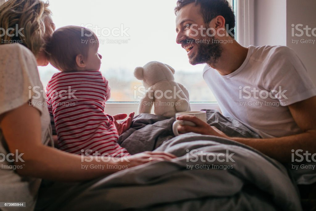 Our morning routine! stock photo