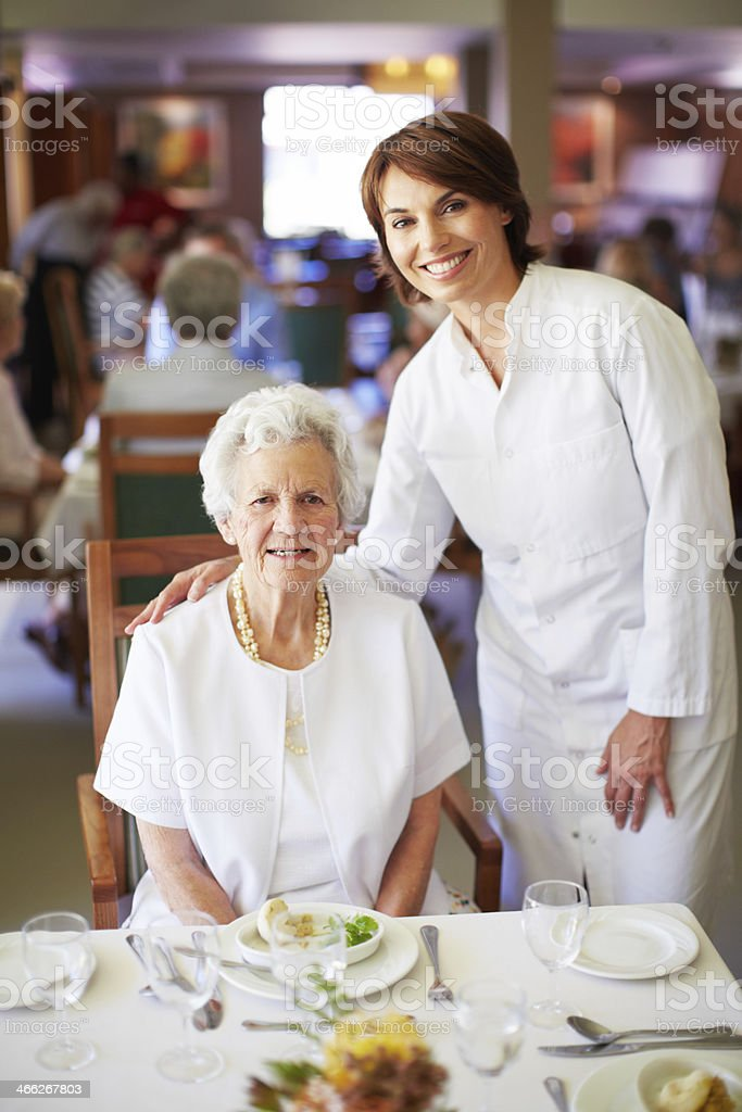 Our seniors have healthy appetites stock photo