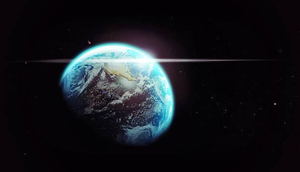 our spaceship through the dark - earth from space bildbanksfoton och bilder
