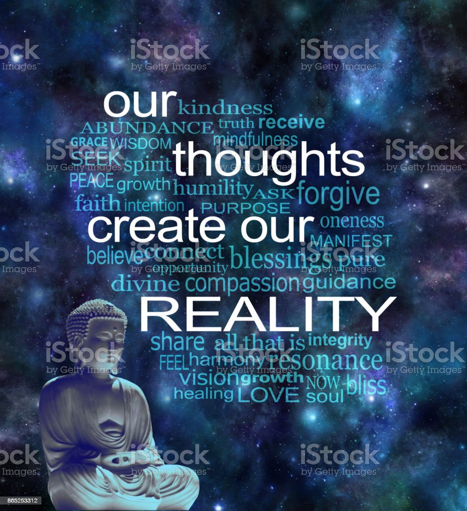 Our Thoughts Create Our Reality Word Cloud stock photo