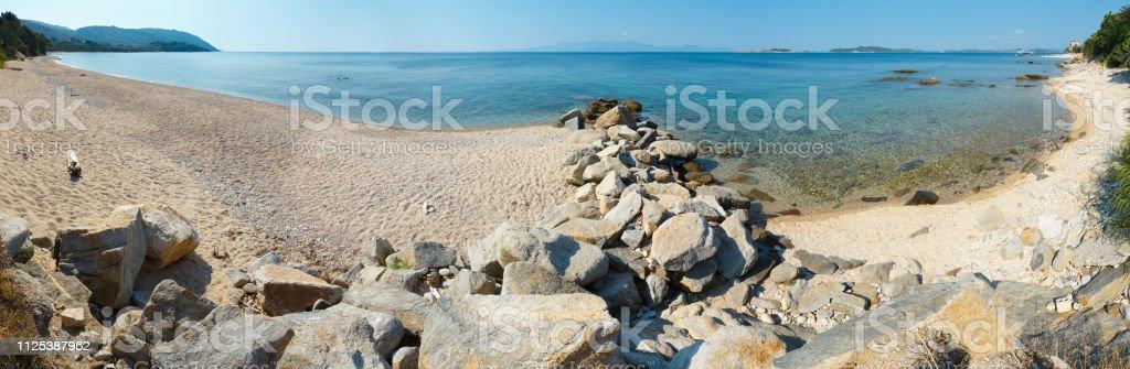 Ouranoupoli coast (Chalcidice, Greece). stock photo