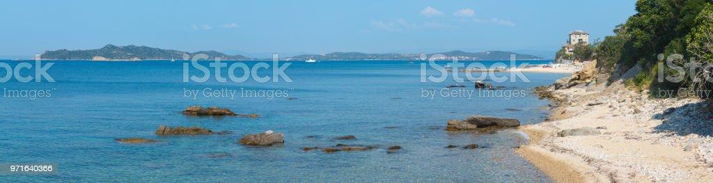 Ouranoupoli village coast (Chalcidice, Greece). stock photo