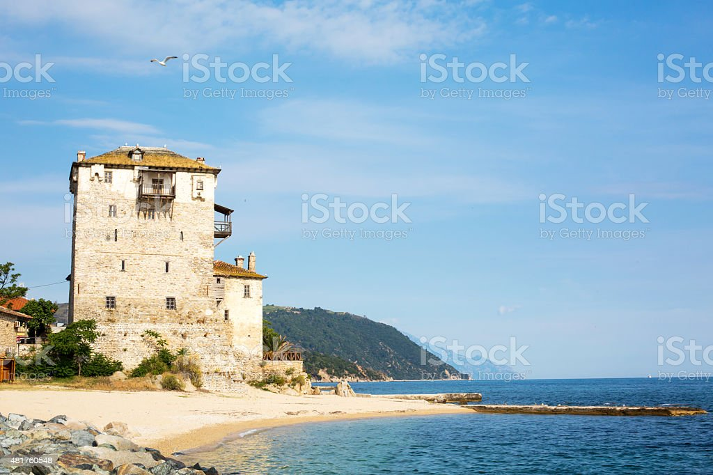 Ouranoupolis Tower on Athos peninsula in Halkidiki, Greece stock photo