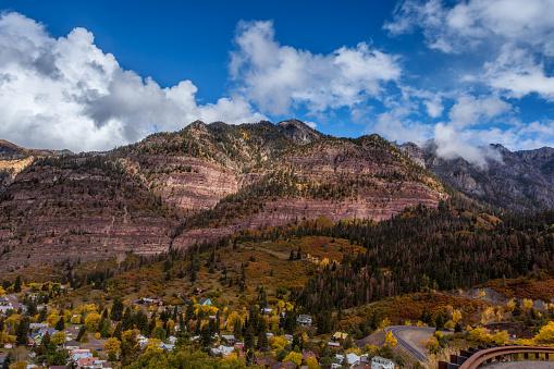 Colorado mountain town of Ouray at autumn
