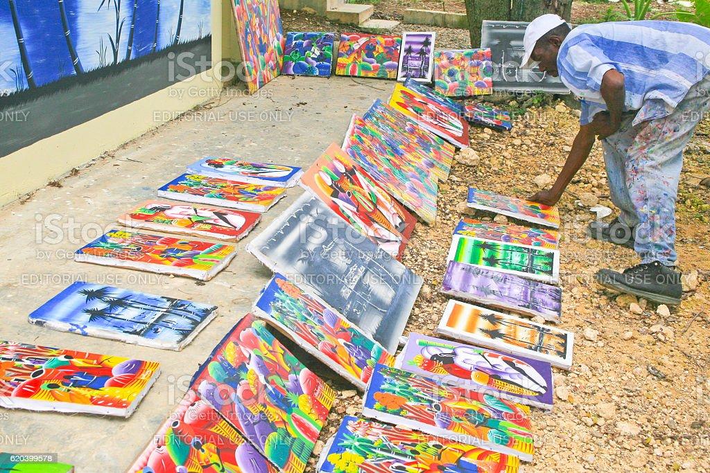 Ourdoor Art Show, Cabarete, Dominican Republc stock photo
