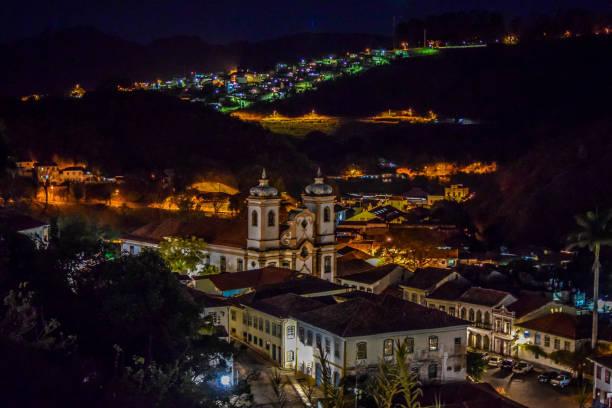 Ouro Preto at night stock photo