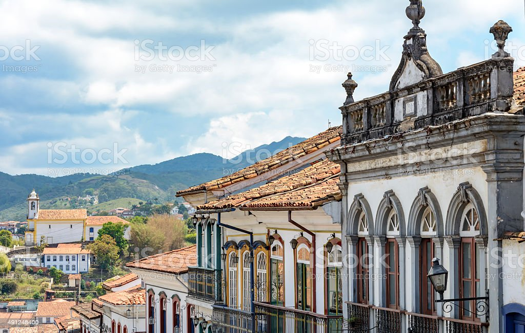 Ouro Preto houses stock photo