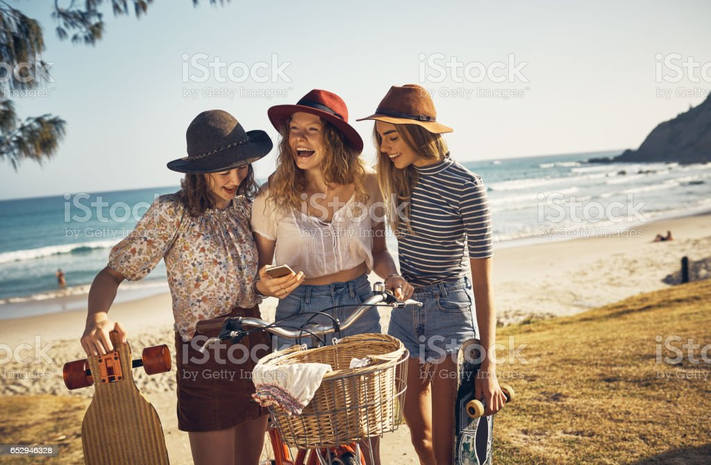 Out at the beach because it's summer stock photo