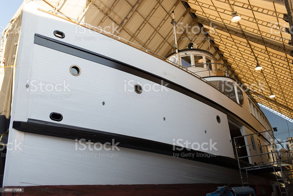 Out Hauled Wooden Steam Ship stock photo