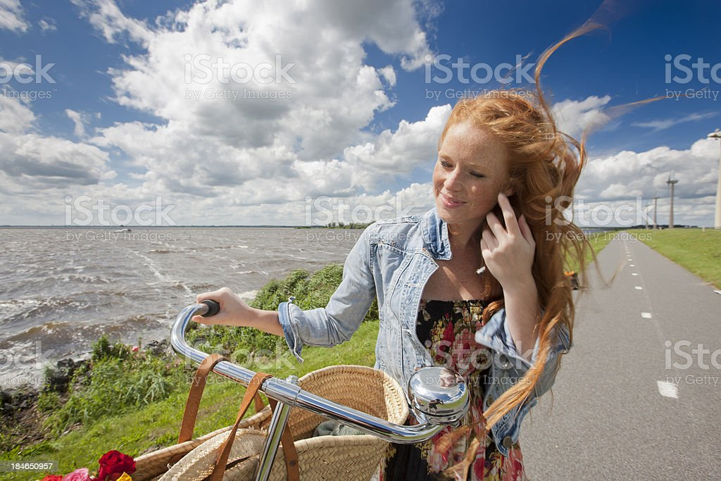 out in windy holland stock photo