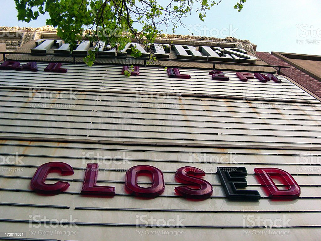 Out of Business Movie Theatre Sign Bankrupt stock photo