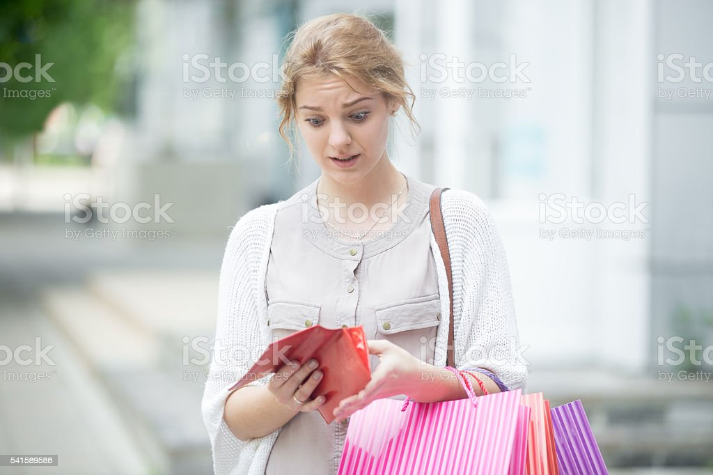 Out of cash, lost money, being broke concept stock photo