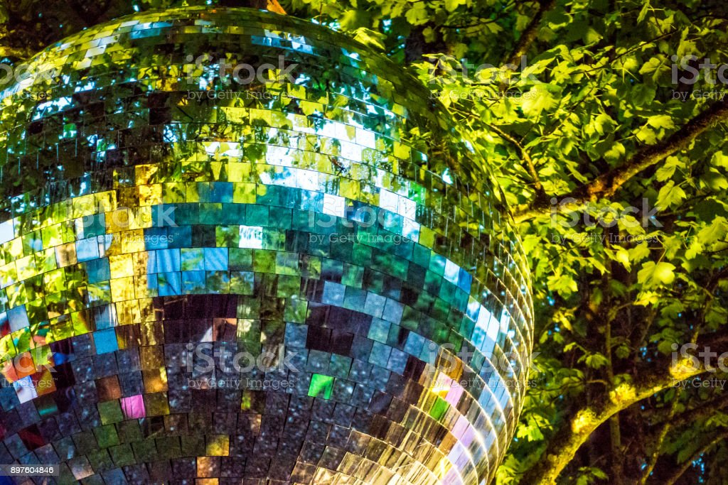 Out of context - Mirrorball in a forest royalty-free stock photo