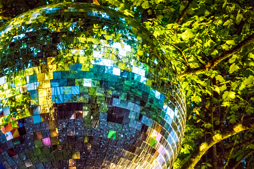 Out Of Context Mirrorball In A Forest Stock Photo - Download Image Now