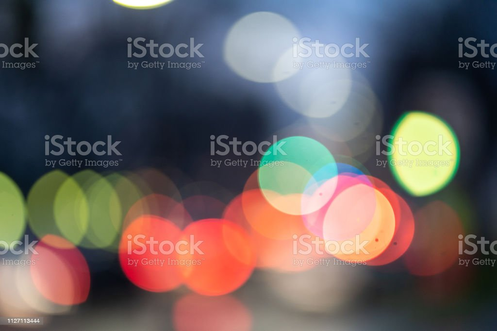 Out of focus abstract and colorful city lights stock photo