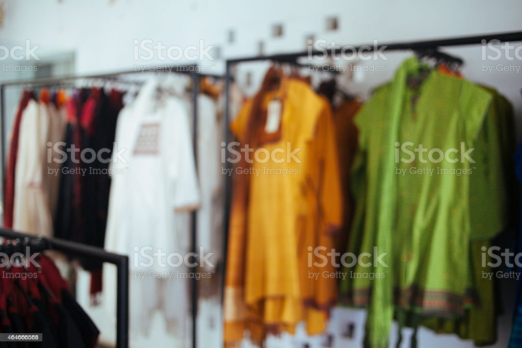 out of focus abstract shot of a clothing store. stock photo