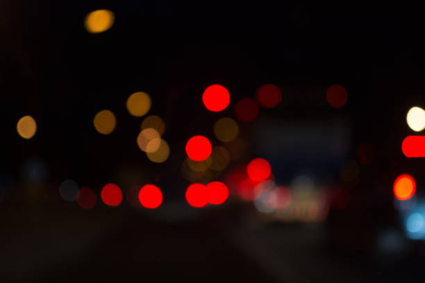 out of focus bokeh background at night stock photo