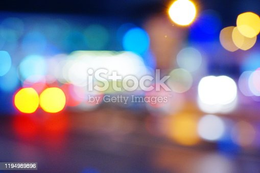 Light night at city blue bokeh abstract background