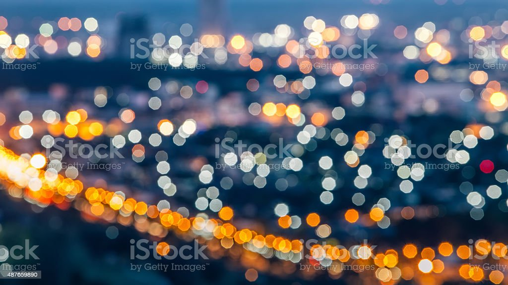 Out of Focus City Lights stock photo