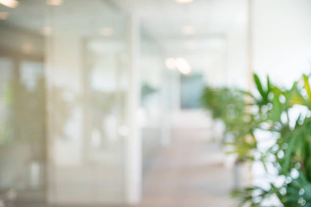 の焦点オフィスオープンの廊下の背景 - オフィス ストックフォトと画像