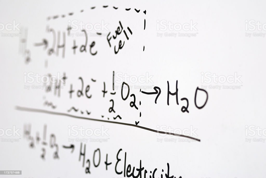 Out of focus photograph of fuel cell equations on whiteboard royalty-free stock photo