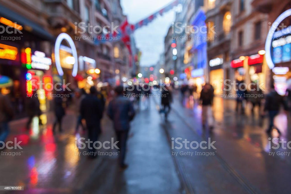 out of focus picture of night city in Istanbul stock photo