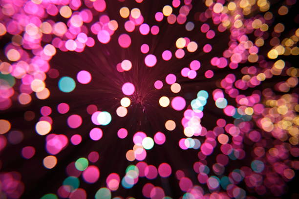 Out of focus purple light dots stock photo