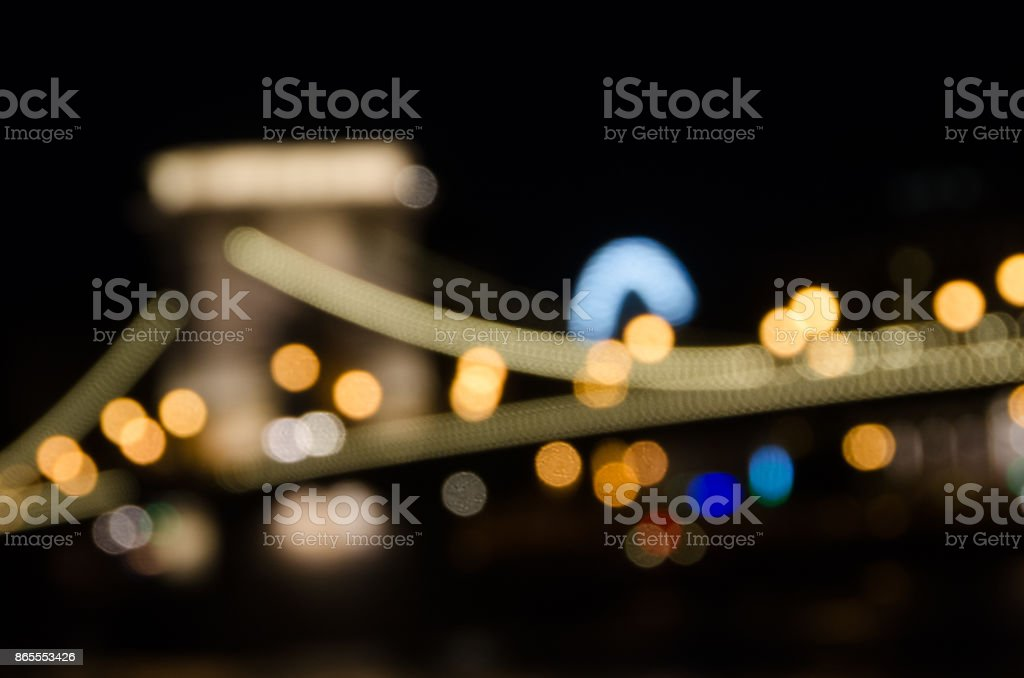Out of Focus shot of the Chain Bridge in Budapest at Night. stock photo