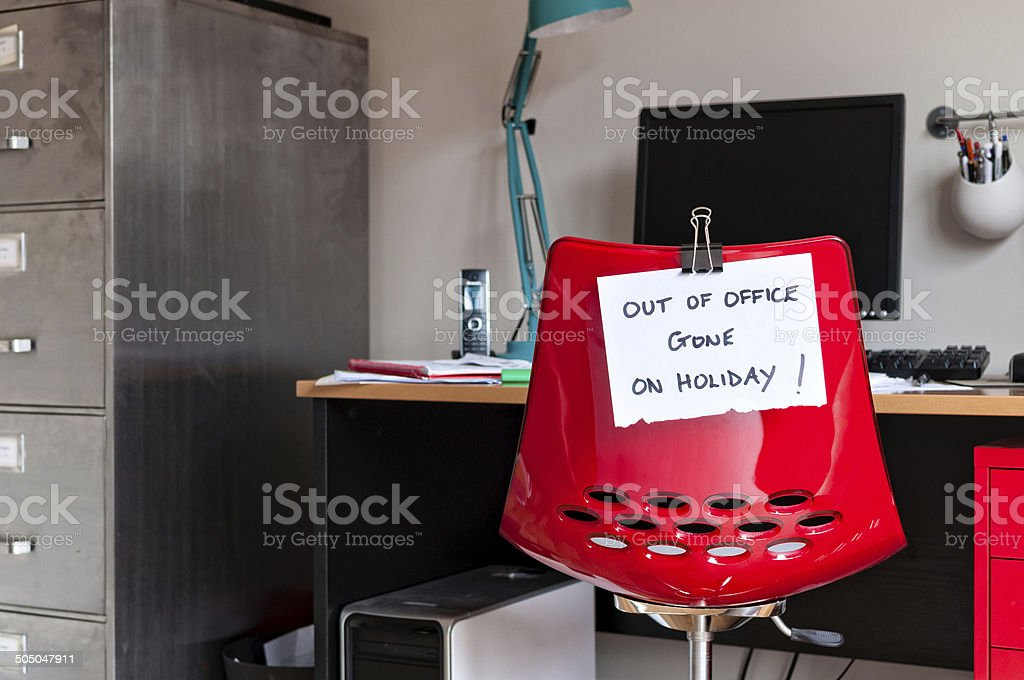 Out of Office. Gone on Holiday! stock photo