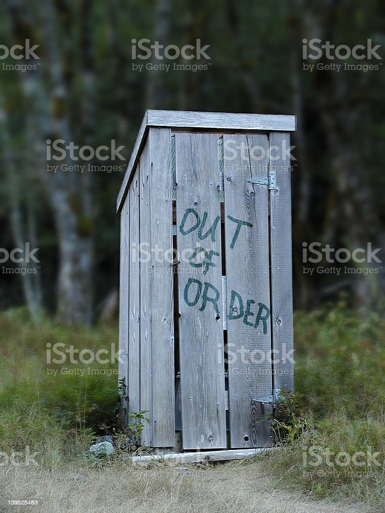 Out of Order Outhouse stock photo