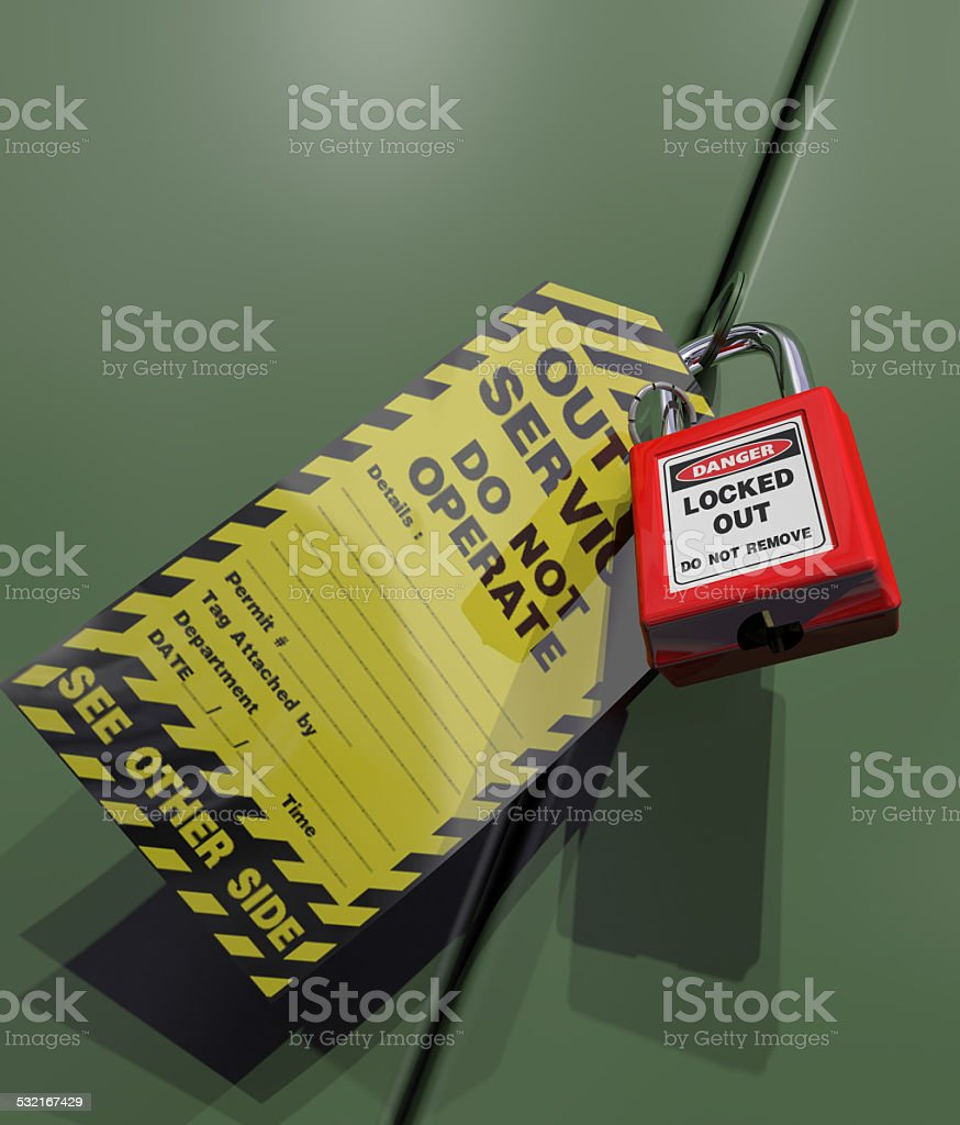Out Of Service tag stock photo