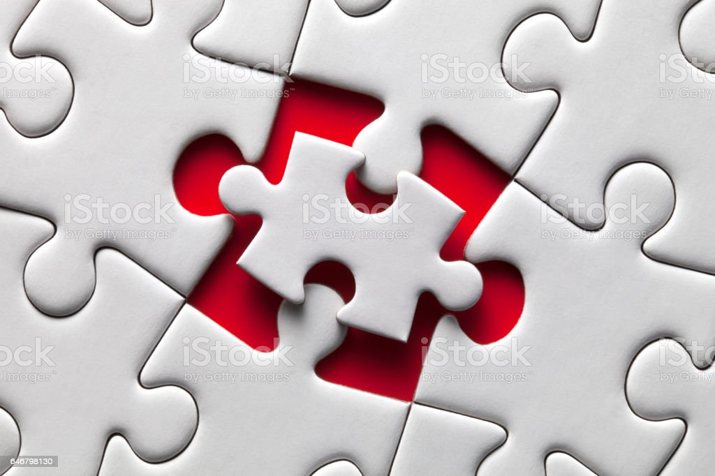 Out of size. Last puzzle piece. stock photo