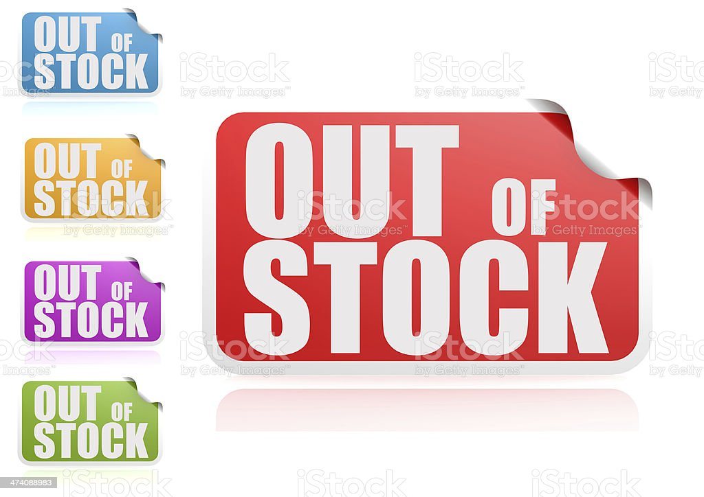 Out of stock label set royalty-free stock photo