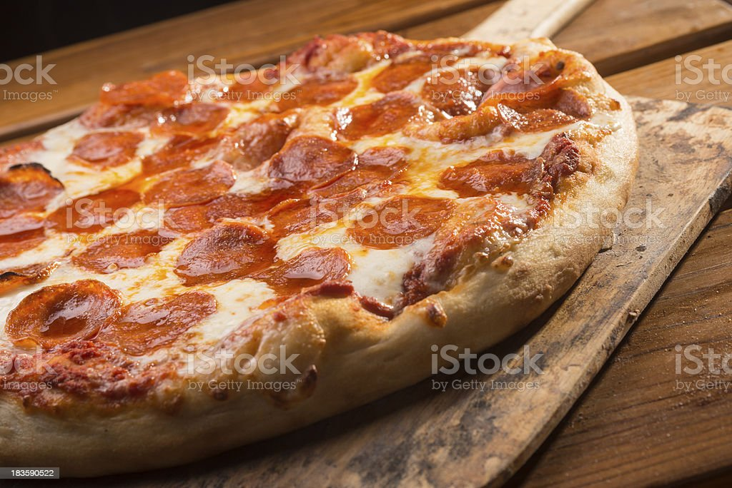 Out of the Oven  Pepperoni Pizza stock photo