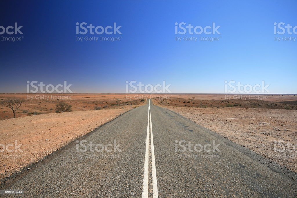 Outback Australia Road, Vanishing into the Desert stock photo