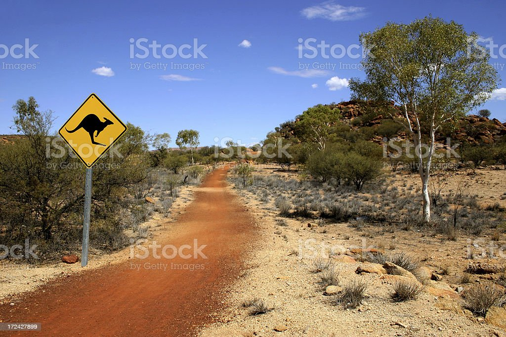 Outback Kangaroo Sign royalty-free stock photo