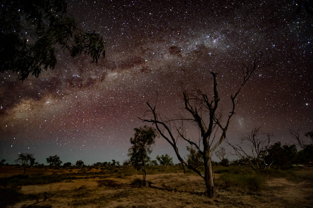 Outback Milky Way Seen is the Milky Way stitching over the sky in outback Queensland outback stock pictures, royalty-free photos & images