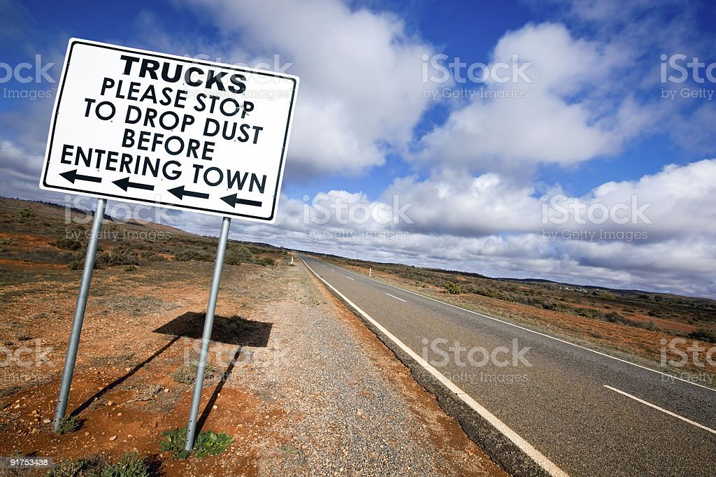Outback Road Sign stock photo