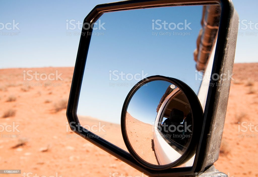 Outback Roadtrip Mirror View royalty-free stock photo