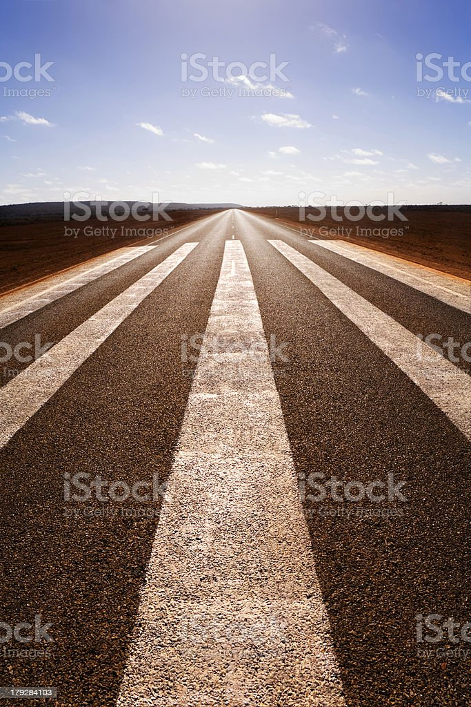 Outback Runway Nullarbor Plain Western Australia Long Straight Road royalty-free stock photo