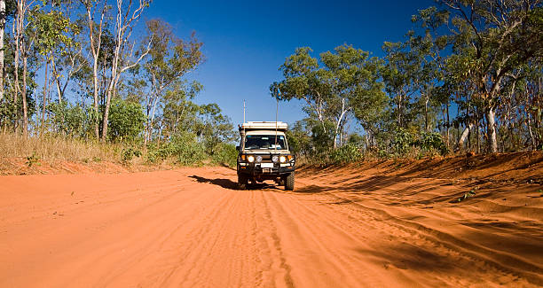 Outback Track Cruising the dirt roads on the Dampier Peninsula near Cape Leveque in northern Western Australia. outback stock pictures, royalty-free photos & images