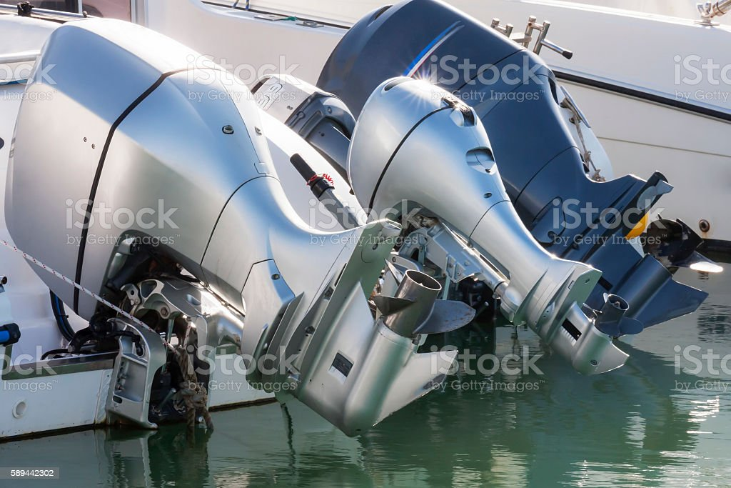 Outboard engines in rest stock photo