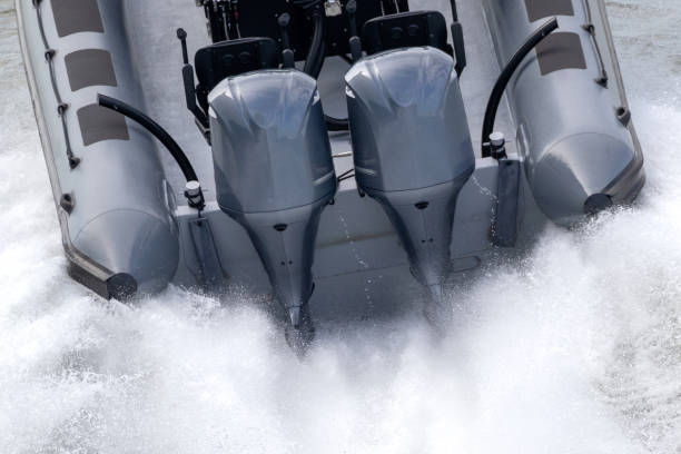 Outboard engines speed boat stock photo