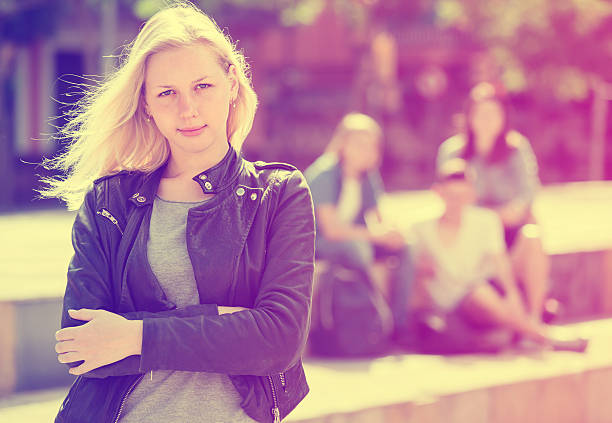 outcasted teenage girl outdoors - deplorable stock pictures, royalty-free photos & images