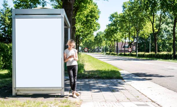 outdoor abri or billboard mockup - bushalte stockfoto's en -beelden